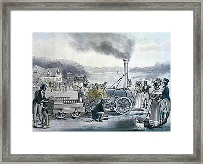 Stephensons Northumbrian, The First Locomotive To Be Built With An Integral Firebox Framed Print by English School