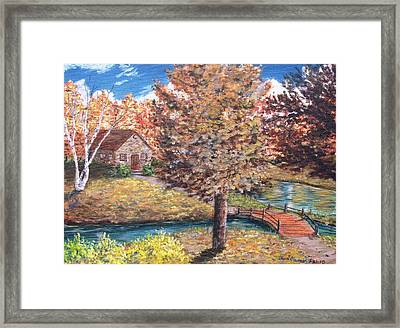 Stepping Into Autumn Framed Print by Kevin F Heuman