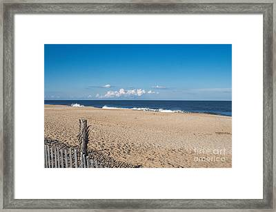 Stepping Onto The Beach Framed Print by Arlene Carmel