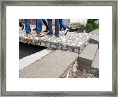 Stepping Up And Over Framed Print by CR Leyland