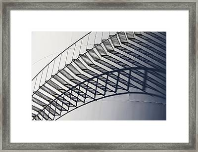 Steps And Shadow On Tank Framed Print