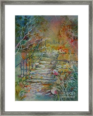 Steps And Tulips Framed Print