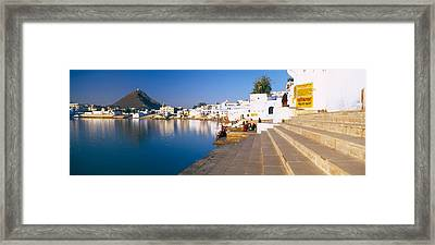 Steps At A Ghat, Pushkar Lake, Pushkar Framed Print by Panoramic Images