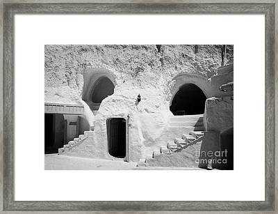 steps from the courtyard up to the entrance of the caves at the Sidi Driss Hotel underground at Matmata Tunisia scene of Star Wars films Framed Print