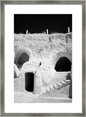 steps from the courtyard up to the entrance of the caves at the Sidi Driss Hotel underground at Matmata Tunisia scene of Star Wars films vertical Framed Print