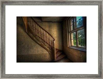 Steps In A Curve Framed Print