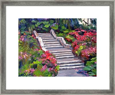 Steps In The Azalea Garden Framed Print