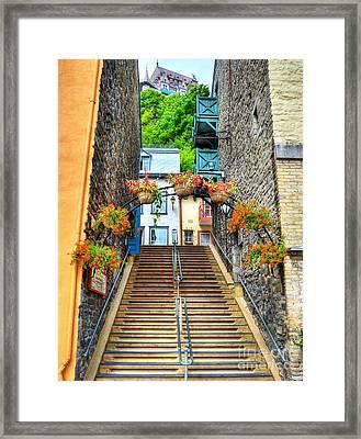 Steps Of Old Quebec Framed Print by Mel Steinhauer