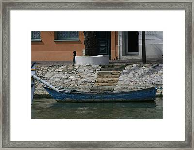 Steps To Blue Boat Framed Print