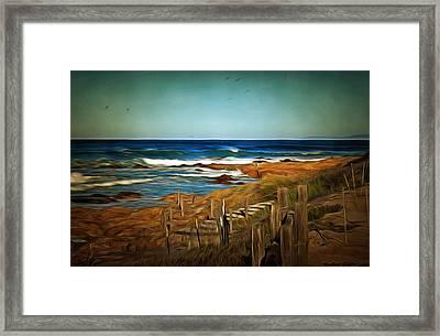 Steps To The Sea Digital Framed Print by Barbara Snyder