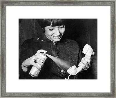 Sterilizing A Telephone Framed Print by Underwood Archives