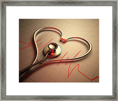 Stethoscope In Heart Shape Framed Print by Ktsdesign