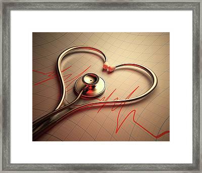 Stethoscope In Heart Shape Framed Print