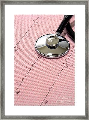 Stethoscope Over Ekg Framed Print