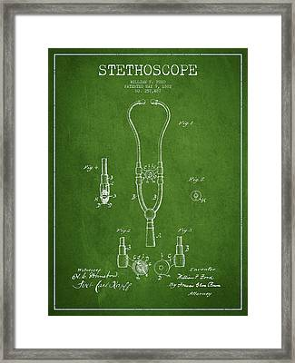 Stethoscope Patent Drawing From 1882 - Green Framed Print