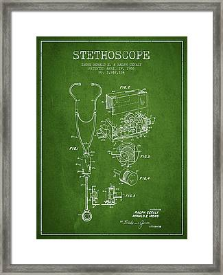 Stethoscope Patent Drawing From 1966- Green Framed Print