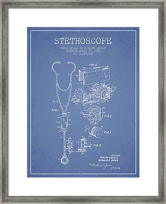 Stethoscope Patent Drawing From 1966- Light Blue Framed Print by Aged Pixel