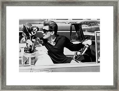 Steve Holland In A Chrysler New Yorker Framed Print by Paul Himmel