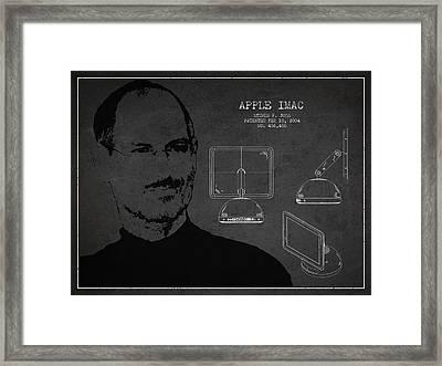 Steve Jobs Imac  Patent - Dark Framed Print by Aged Pixel