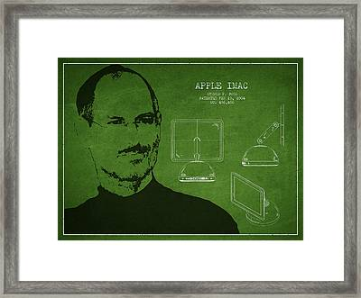 Steve Jobs Imac  Patent - Green Framed Print by Aged Pixel