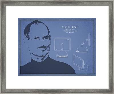 Steve Jobs Imac  Patent - Light Blue Framed Print by Aged Pixel