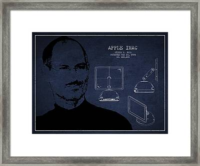 Steve Jobs Imac  Patent - Navy Blue Framed Print by Aged Pixel
