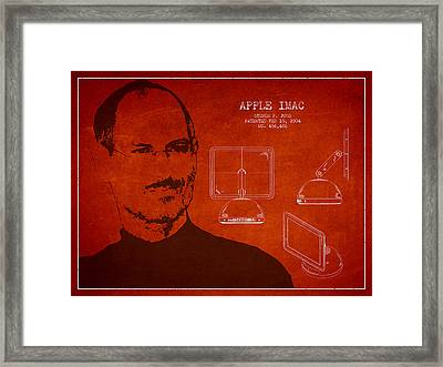 Steve Jobs Imac  Patent - Red Framed Print by Aged Pixel