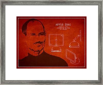 Steve Jobs Imac  Patent - Red Framed Print