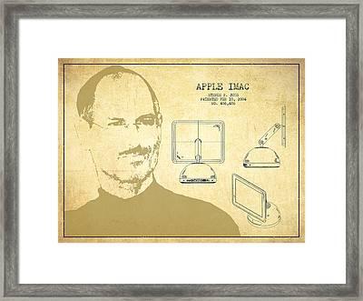 Steve Jobs Imac  Patent - Vintage Framed Print by Aged Pixel