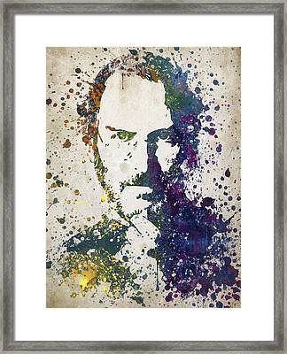 Steve Jobs In Color 02 Framed Print by Aged Pixel