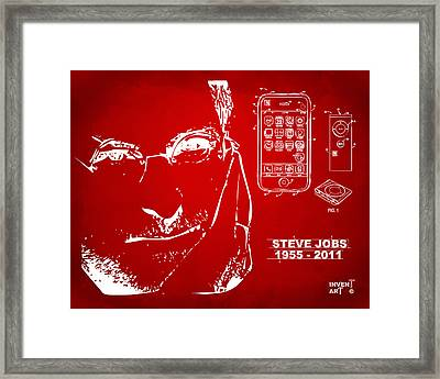 Steve Jobs Iphone Patent Artwork Red Framed Print by Nikki Marie Smith