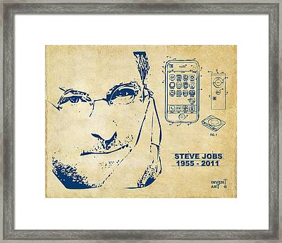 Steve Jobs Iphone Patent Artwork Vintage Framed Print by Nikki Marie Smith