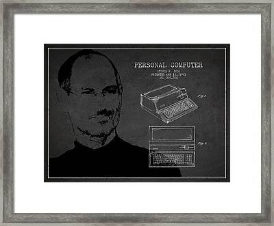 Steve Jobs Personal Computer Patent - Dark Framed Print by Aged Pixel
