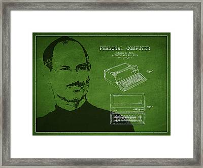 Steve Jobs Personal Computer Patent - Green Framed Print by Aged Pixel