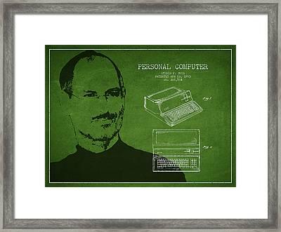 Steve Jobs Personal Computer Patent - Green Framed Print