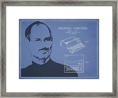 Steve Jobs Personal Computer Patent - Light Blue Framed Print by Aged Pixel