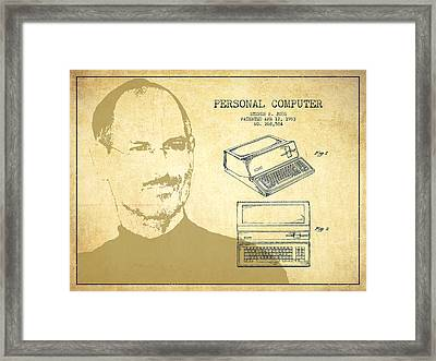 Steve Jobs Personal Computer Patent - Vintage Framed Print