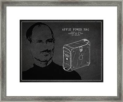 Steve Jobs Power Mac Patent - Dark Framed Print by Aged Pixel