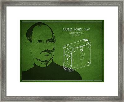 Steve Jobs Power Mac Patent - Green Framed Print by Aged Pixel