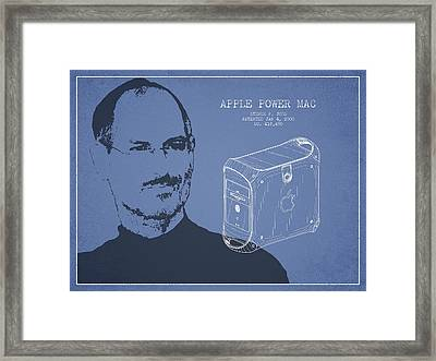 Steve Jobs Power Mac Patent - Light Blue Framed Print by Aged Pixel