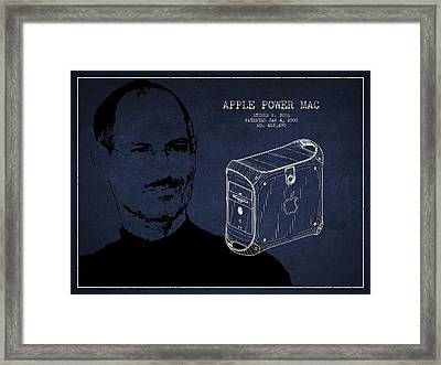 Steve Jobs Power Mac Patent - Navy Blue Framed Print by Aged Pixel
