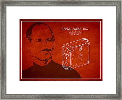 Steve Jobs Power Mac Patent - Red Framed Print by Aged Pixel