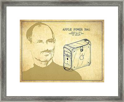 Steve Jobs Power Mac Patent - Vintage Framed Print by Aged Pixel