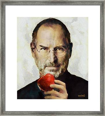 Framed Print featuring the painting Steve Jobs  by Wayne Pascall