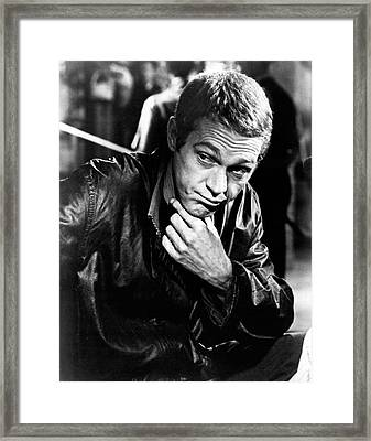 Steve Mcqueen Hand On Chin Framed Print by Retro Images Archive