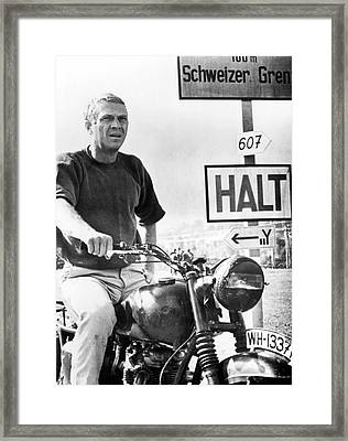 Steve Mcqueen On Motorcycle Framed Print by Retro Images Archive