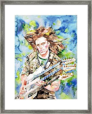Steve Vai Playing The Guitar -watercolor Portrait Framed Print by Fabrizio Cassetta