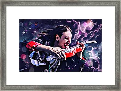Steve Vai Portrait Framed Print by Scott Wallace