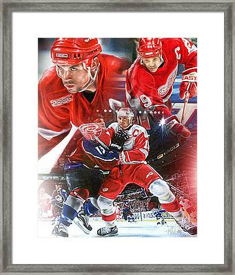 Steve Yzerman Collage Framed Print