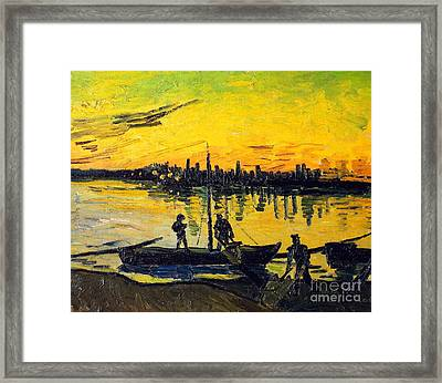 Stevedores In Arles Framed Print by Vincent van Gogh